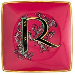 Versace Schale Quadra Alphabet 12 cm Buchstabe R