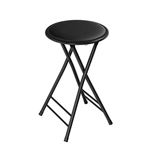 Folding Stool – Heavy Duty 24-Inch Collapsible Padded Round Stool with 300 Pound Capacity for Dorm, Rec Room or Gameroom by Trademark Home (Black) (161263AMA)