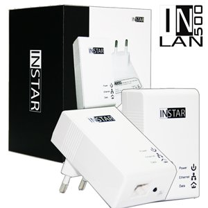 INSTAR Mini Powerline Adapter met adapter en stopcontact zonder stekkerdoos Starter-Set wit