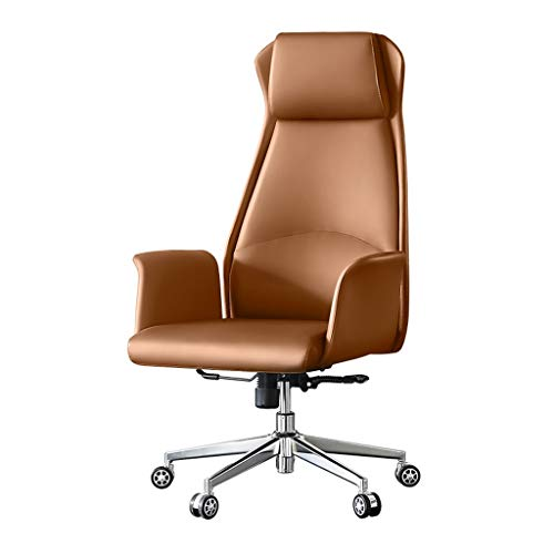 Aoyo Boss Chair Leather Seat, Home Computer Chair, Lift Swivel Chair, Business Comfortable Study Chair, Office Chair (Color : Microfiber Leather-Brown)