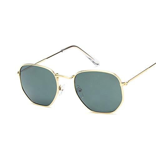 2019 Retro Round Gafas de Sol Mujeres Marca diseñador Gafas de Sol para Mujeres aleación Espejo Gafas de Sol Ray Mujer Oculos De Sol Gold Deepgreen