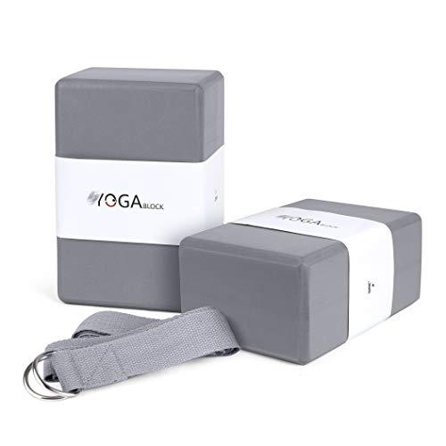 JBM Yoga Block Plus Strap with Metal D-Ring Yoga Brick Cork Yoga Block 6 Colors - High Density EVA Foam Yoga Block to Support and Deepen Poses Odor-Resistant