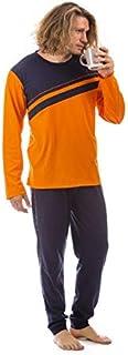 Mens Pyjama PJs Cotton Set Short Sleeve Long Sleeve Top & Pants Soft and Breathable Nightwear Sleepwear Loungewear 2 Pieces