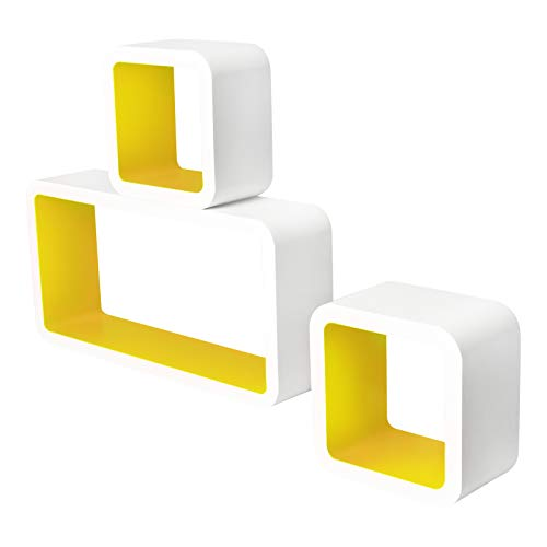 Lestarain LGA017 Juego de 3 Estanteria Cubo de Pared Cuadrada Libreria Repisas Invisibles Estanteria Pared Flotantes Blanco/Amarillo Decorativo CD
