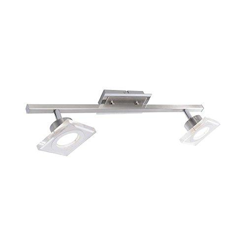 LED Deckenleuchte Deckenlampe 2-flammige Strahlerleiste Acrylglas Spot 700 Lumen 11 Watt 3000 Kelvin warmweiß Stufen-Dimmer