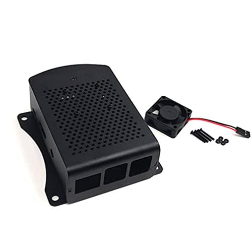 CNmuca Para Raspberry Pi 2 3 Modelo B + Caixa de alumínio Caixa de metal com ventilador Prata Verde Vermelho Preto Caixa RPI 3 compatível com caixa preta