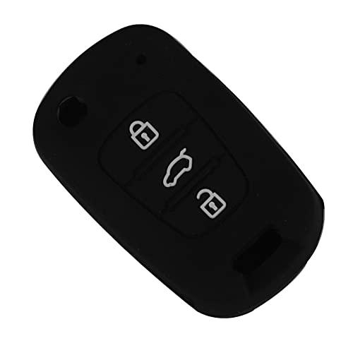 SHUAI 3 Botones Caso de Clave remota de Silicona Proteger Shell Fit para KIA Rio K2 K5 Sportage Hyundai I20 I30 I35 IX20 IX35 Solaris (Color Name : Black)
