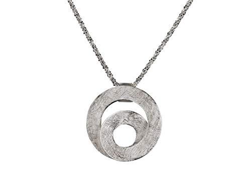 SILBERMOOS Anhänger mit Kette Spirale Loop offen Kreis gebürstet mit Criss-Cross-Kette 45 cm diamantiert 1,4 mm 925 Sterling Silber