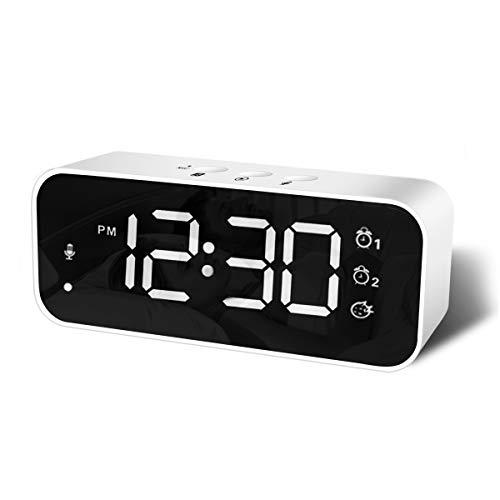 HOMVILLA Digitaler Wecker mit Große LED Display, Nachttisch Wecker mit 2 Alarmen, 12/24 Stunden Tonaufnahmegerät USB Ladeanschluss 3 Stufen Einstellbare Helligkeit Dimmer Snooze Tragbarer (Weiß)