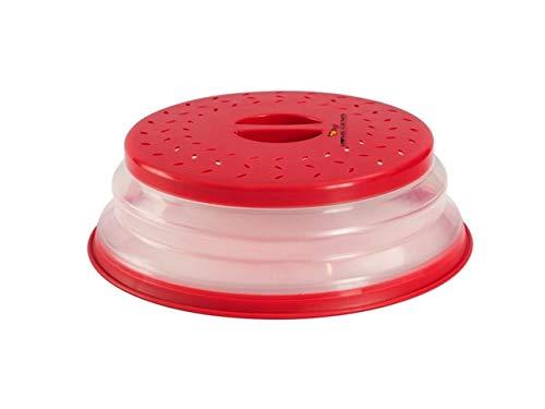 Home Gems 2 en 1 cubierta plegable para placa de microondas   Escudo de salpicaduras de microondas y colador   Accesorios de cocina de gemas para el hogar rosso