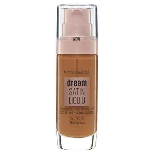 Maybelline Foundation Fond de Teint Hydratant Liquide Dream Radiant avec Acide Hyaluronique et Collagène - Couverture Légère et Moyenne jusqu'à 12 Heures d'hydratation, 62 Sandalwood