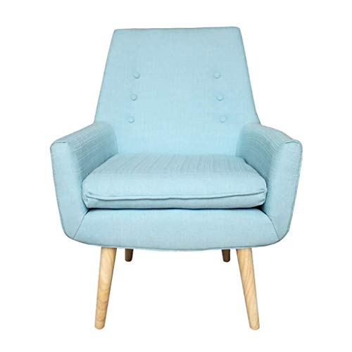 ZXL Soft Linen Fabric Accent Chair Recliner Sofa with Solid Wooden Legs Armchair Dining Chair Living Room Bedroom Commercial Restaurants Office Lounge Reception Upholstered (Color : Blue)
