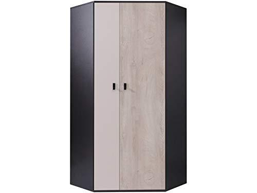 Furniture24 Eckkleiderschrank Planet PL-2, Schrank, 2 Türiger Eckschrank mit 5 Einlegeboden und 2 Kleiderstangen, Jugendschrank (Schwarz/Eiche/Beige)