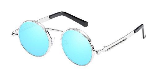 BOZEVON Lunettes de soleil en métal rond Steampunk avec protection UV 400 pour femmes et hommes Argenté-Bleu