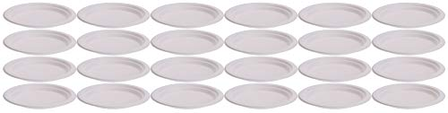 MIJOMA Disposable Paper Plates, Paper Cups, Compostable White Bagasse Sugar Cane, for BBQ or Party, Biodegradable (24 Round Plates, Diameter 17 cm)