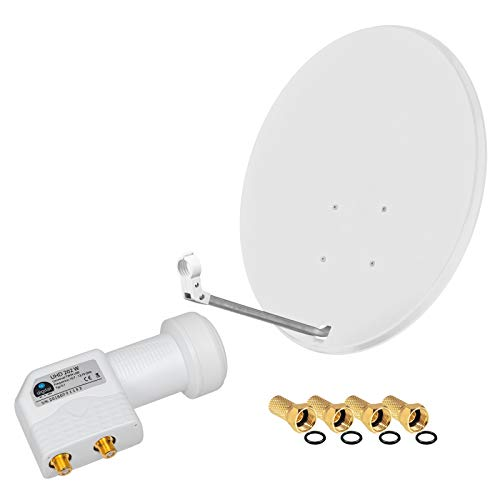 HD Digital SAT Anlage 80cm Spiegel Schüssel Hellgrau + Twin LNB für bis 2 Teilnehmer zum Empfang von DVB-S/S2 Full HD 3D Ultra HD (UHD) Signale + Stecker Gratis dazu im Set