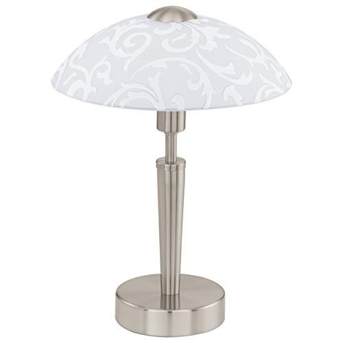 EGLO Tischleuchte Solo, 1 flammige Tischlampe, Material: Stahl, Farbe: Nickel matt, Glas: satiniert weiß mit Dekor, Fassung: E14, inkl. Touchdimmer