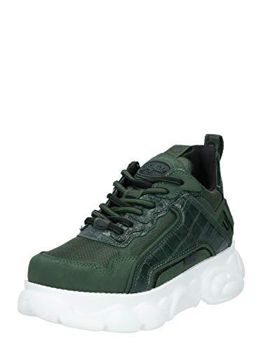 Buffalo Damen Sneaker CLD CHAI, Frauen Low Top Sneaker, schnürschuh sportschuh Wedge-Sneaker keil-Absatz Ladies,Grün(Croco Green),39 EU / 6 UK