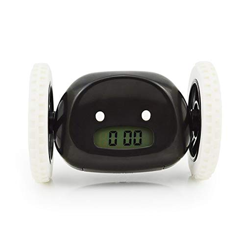 Reloj despertador con ruedas con retroiluminación extra fuerte para dormitorio de adultos o niños, divertido, enrollable, fuga, movimiento, salto negro