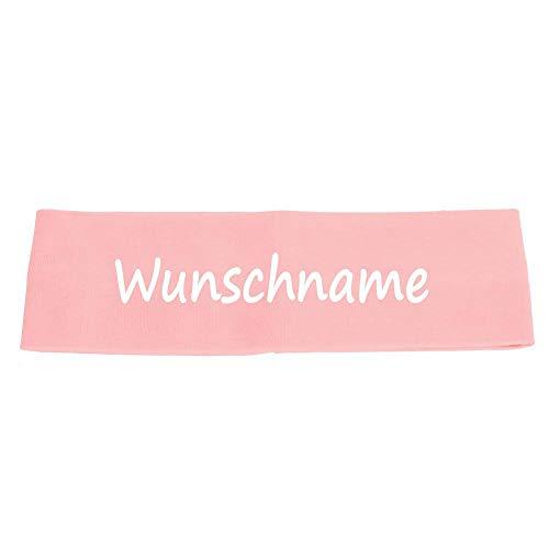 Elefantasie Stirnband mit Namen oder Text personalisiert für Baby oder Kind aus 100% Baumwolle rosa
