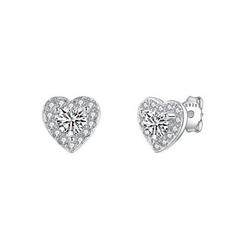 Silver Stud Earrings for Women,925 Sterling Silver Stud Earrings with AAA+ Cubic Zirconia, Silver Heart Earrings for Girls Valentine's Day Gifts (3mm)