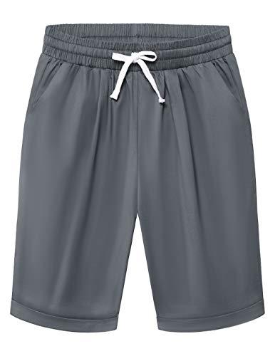 DRESSTELLS Bermuda Pants for Women Shorts Summer Pull up Short Beach Lounge Elastic Waist Pocketed Pants with Drawstring Grey XL