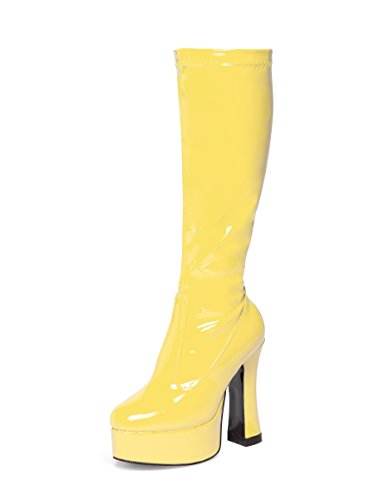 Fancy Dress Knee High Platform Boots 60s 70s Retro Look GoGo Boots (3, Yellow)