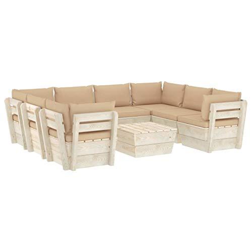 vidaXL Madera Pino Juego de Muebles de Jardín de Palets 9 Piezas Cojines Mobiliario Hogar Exterior Terraza Mesa Sofá Asiento Suave con Respaldo