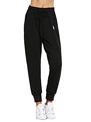 SweatyRocks Women's Sweatpants Yoga Workout Athletic Joggers Pants with Pockets (Large, Solid Black)