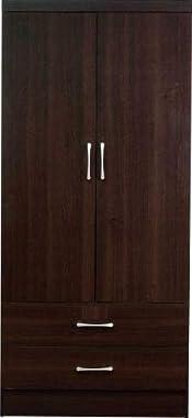 Shilpi Handmade Indian Premium Teak Board Double Door & Drawer Storage Wardrobe for Living Room
