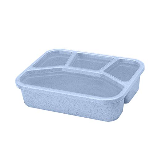 jieGorge Lunch Box Reusable 4-Compartment Plastic Divided Food Storage Container Boxes, Kitchen,Dining & Bar for Easter Day (Blue)