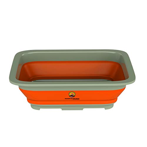 Collapsible Multiuse Wash Bin- Portable Wash Basin/Dish Tub/Ice Bucket with 10 L Capacity for Camping, Tailgating, More by Wakeman Outdoors