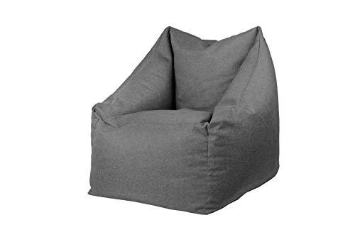 chilly pilley Sitzsack Sitzkissen Bodenkissen Sessel Gartenkissen mit Rückenlehne Sitz (Grau)