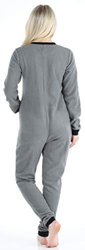 Sleepyheads Onesie, Einteiliger Schlafanzug für Damen aus Fleece ohne Fuß, bunter Einteiler, Overall, Grau mit Schwarz - 2