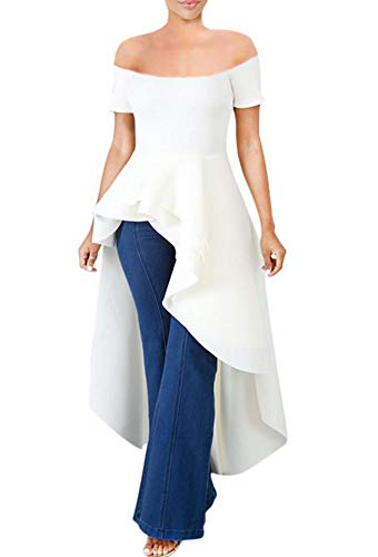 Womens High Low Dress - Fashion Elegant Ruffle Off Shoulder Tunics Top Maxi Evening Cocktail Dress White