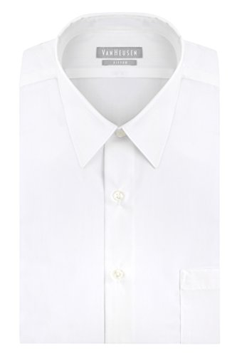 "Price comparison product image Van Heusen Men's Poplin Fitted Solid Point Collar Dress Shirt,  White,  15.5"" Neck 32""-33"" Sleeve"