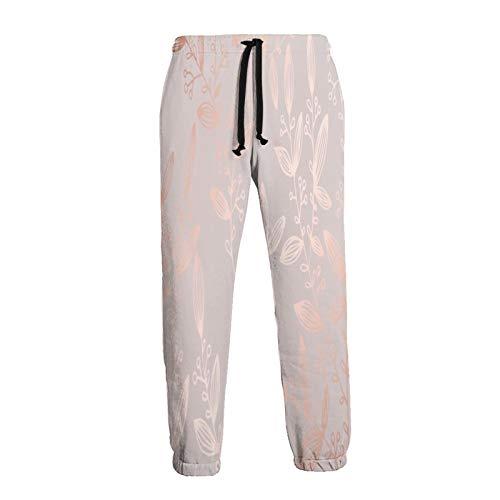 Inaayayi Pantalones deportivos unisex con bolsillos de color oro rosa con diseño de hojas florales