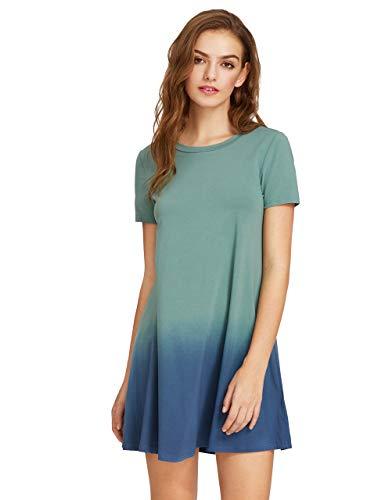 ROMWE Mujer Vestido de Camiseta Manga Corta Gradiente de Color