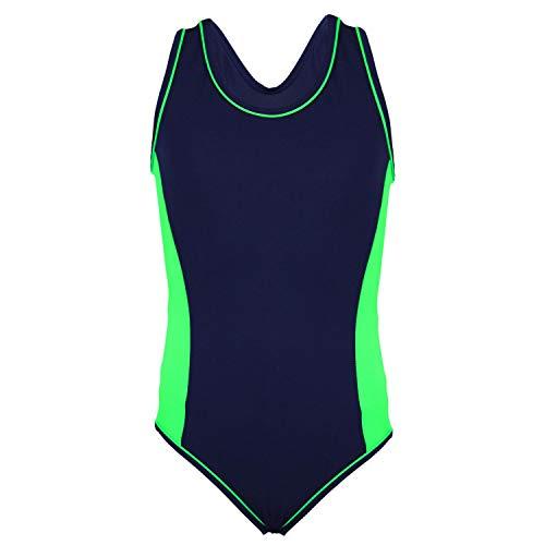 Aquarti Mädchen Badeanzug mit Racerback Sportlich, Farbe: Dunkelblau/Grün, Größe: 152