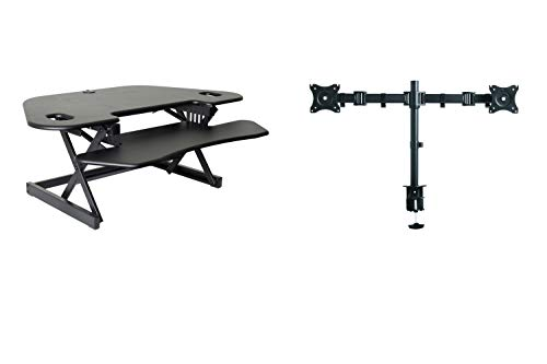 """Rocelco 46"""" Height Adjustable Corner Standing Desk Converter with Dual Monitor Arm Mount Bundle - Sit Stand Up Computer Workstation Riser - Extra Large Keyboard Tray - Black (R CADRB-46-DM2)"""