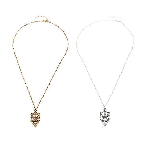 oshhni 2 Piezas Chic Mujeres Hombres Colgante Geométrico Collar Cadena DIY Artesanía Oro Plata