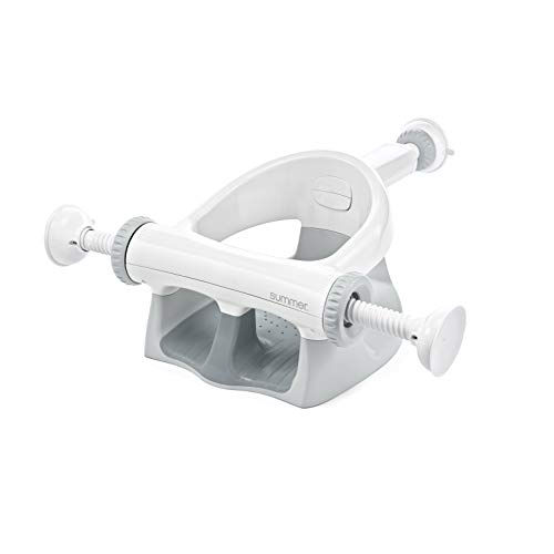 Summer My Bath Seat Soft Support Gray – Contoured Bath Seat for Children Transitioning to The Adult Bathtub – Features Drain Holes Sure amp Secure Suction Cups and Spacious OpenSide Design
