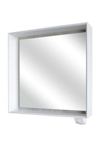 FACKELMANN LED Spiegel IX! / Maße (B x H x T): ca. 70 x 70 x 15 cm/hochwertiges Spiegelelement fürs Bad/Möbel fürs WC oder Badezimmer/Korpus: Weiß/Front: Spiegel/Breite 70 cm