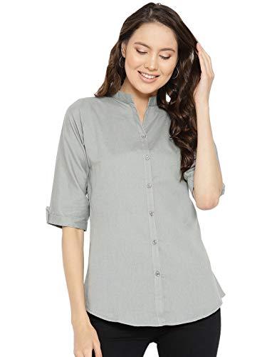Vastraa Fusion Straight Cotton Flex Short Kurta/Kurti/Shirt for Women -Light Grey - Size-XS