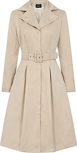 Collectif Damen Mantel Jolianna A-Linie Retro Trench Coat (Beige, 3XL)