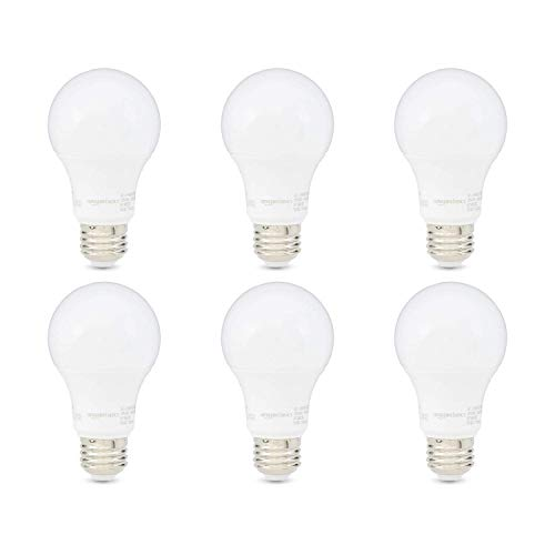 AmazonBasics 60W Equivalent, Soft White, Non-Dimmable, 10,000 Hour Lifetime, A19 LED Light Bulb | 6-Pack