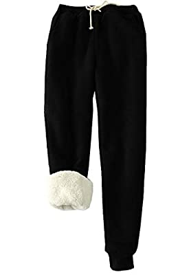 HeSaYep Women's Warm Sherpa Lined Sweatpants Drawstring Athletic Jogger Fleece Pants with Pockets,Black XXL