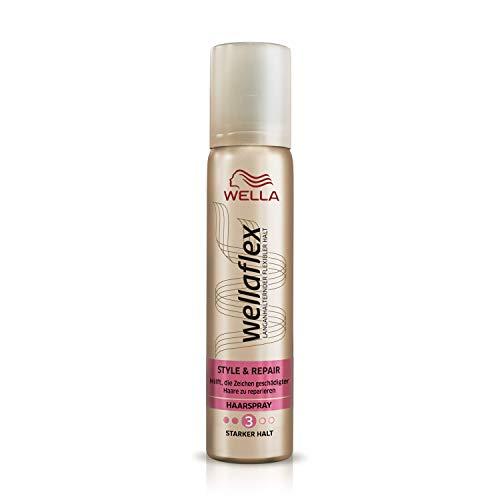 Wella Wellaflex Style & Repair Haarspray für starken Halt, hilft die Zeichen geschädigter Haare zu reparieren, Mini Größe, 3er Pack (3 x 75 ml)