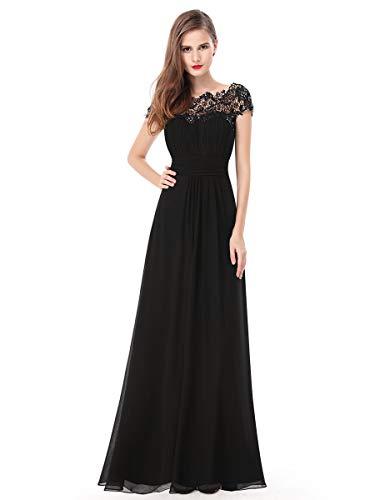 Ever-Pretty Damen A-Linie Abendkleid Spitze Abschlusskleid Bankett Frauen Lange Blush Schwarz 46