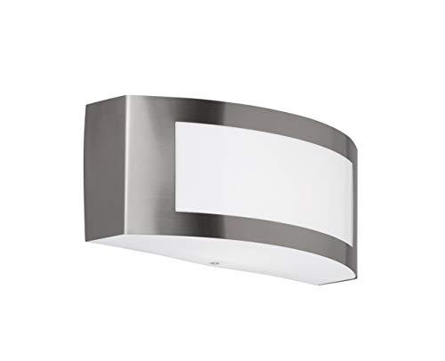 WOFI applique da parete, Acciaio Inox, E27, 14W, in acciaio inox spazzolato, 9x 25x 10cm